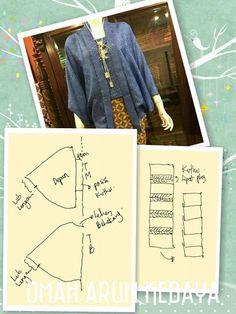 Kebaya Kutu Baru Hijab, Batik Kebaya, Kaftan Pattern, Top Pattern, Clothing Patterns, Dress Patterns, Sewing Patterns, Abaya Fashion, Diy Fashion