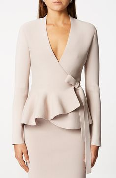 Crepe Knit Wrap Jacket is a tailored jacket which features a wrap front, waist tie and ruffled hem. Model is and wearing a size XS. DRY CLEAN ONLY Peplum Jacket, Peplum Dress, Knit Dress, Wrap Dress, Scanlan Theodore, Minimalist Fashion, Minimalist Outfits, Knit Wrap, Tailored Jacket