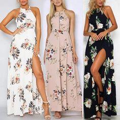 Women's Summer Hollow Boho Long Maxi Evening Party Beach Dress Floral Sundress #Unbranded #Maxi