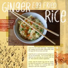 Ginger Egg Fried Rice - Live Below the Line with Natural Kitchen Adventures - meals around £0.33p.  Images illustrated by livebelowtheline.com /  zoekelland.co.uk