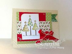 Stampin Up Card Kit (4) QUILT CHRISTMAS TREES