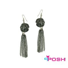 POSH Giselle - Earrings - Mesh chain ball with dusting chains earrings - Gun metal colour - Dimension: x POSH by FERI - Passion for Fashion - Luxury fashion jewelry for the designer in you. Fashion Earrings, Fashion Jewelry, Women Jewelry, Monogram Earrings, Chain Earrings, Jewellery Earrings, Selling On Pinterest, Ladies Boutique, Passion For Fashion