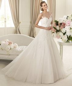Honorable A-line Bateau 3/4 Length Sleeve Lace Sweep/Brush Train Tulle Wedding Dresses : Wedding Dresses, Bridesmaid Dresses, Gowns Online Shop, | Aisle Style UK