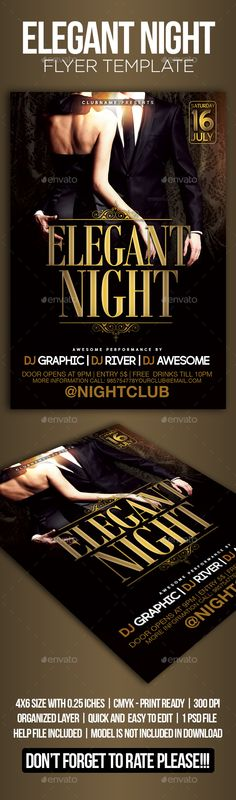 Buy Elegant Night Flyer Template by gpiniciative on GraphicRiver. Flyer Template designed with you in mind, to use at your events Elegant Night party or any other event to your liking. Flyer Design Inspiration, Gold Man, Elegant Couple, Helvetica Neue, Print Design, Graphic Design, Event Flyer Templates, Event Flyers, Layout