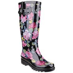 Cotswold WomensLadies Rosefest Floral Pattern Wellies 7 US Black -- Visit the image link more details.(This is an Amazon affiliate link and I receive a commission for the sales)
