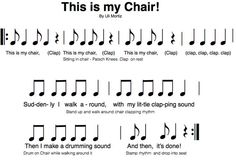 Syncopation/Play song Dawn Jones: This is my Chair by Uli Mortiz is a fun activity I got from the Orff Conference in Vancouver B. It's a lot of fun! Music For Kids, Fun Music, Music Games, Singing Games, Music Stuff, Orff Activities, Elementary Music Lessons, Elementary Education, Middle School Music
