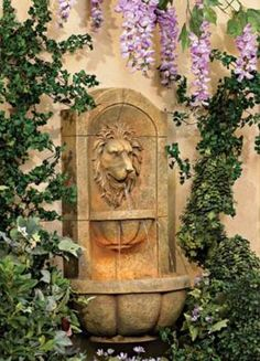 Faux Stone Wall Lion Head Fountain (LP-26106)