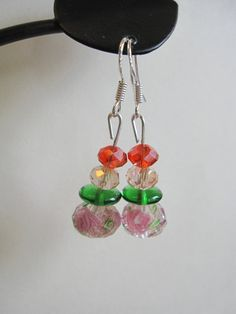 Pink Rose Glass and Swarovski Earrings by SmithNJewels on Etsy, $7.99