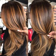 60 Looks with Caramel Highlights on Brown and Dark. - 60 Looks with Caramel Highlights on Brown and Dark Brown Hair Copper Balayage For Brunette Hair - Caramel Hair Highlights, Brown Hair Balayage, Brown Hair With Highlights, Hair Color Highlights, Ombre Hair Color, Copper Balayage Brunette, Highlights For Brunettes, Caramel Hair Colors, Brunette Hair Highlights