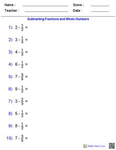 Subtracting Fractions and Whole Numbers Worksheets