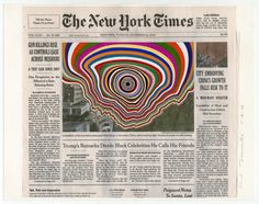 Creative Collages of the NY Times Front Pages  American artist Fred Tomaselli turns the NY Times front pages into satiric surrealist collages. Using gouache paint and paper he draws psychedelic patterns in order to react the news in the famous daily newspaper. He started this project 12 years ago and through it he changes and denounces messages in order to create an alternative version of the newspaper of which he is the editor in chief.         #xemtvhay