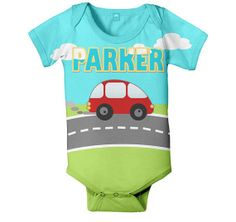 Personalized Baby Onesie Little Red Car Boy's by SimplySublimeBaby