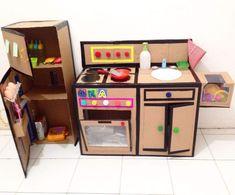 cardboard furniture for kids new diy kitchen set from cardboard of cardboard furniture for kids Cardboard Kitchen, Cardboard Play, Diy Cardboard Furniture, Cardboard Crafts, Kids Furniture, Cardboard Chair, Barbie Furniture, Diy Kids Kitchen, Kitchen Sets For Kids