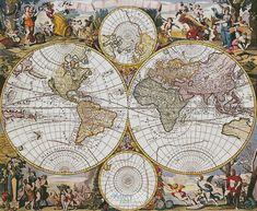 Artecy Cross Stitch. Old World Map Cross Stitch Pattern to print online.