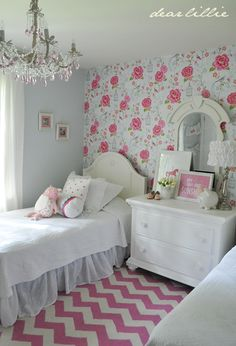 Beautiful bold pink girls room