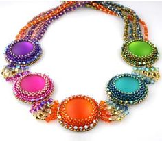 This kit produces a rewarding, show-stopping project. This Beads Gone Wild original design incorporates bead weaving and embroidery techniques, as well as peyote basics that will engage any novice bea Jewelry Kits, Seed Bead Jewelry, Beaded Jewelry, Handmade Jewelry, Beaded Necklace, Jewelry Making, Jewellery, Graduation Jewelry, Beads And Wire