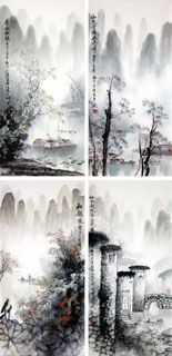 Chinese Four Screens of Landscapes x x Painting. Buy it online from InkDance Chinese Painting Gallery, based in China, and save Chinese Landscape Painting, Japanese Painting, Chinese Painting, Watercolor Landscape, Chinese Art, Japanese Art, Landscape Paintings, Chinese Brush, Chinese Dragon