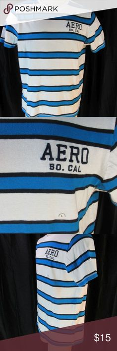 "Aeropostale New Striped T Shirt Mens L White Teal Aeropostale Men's T Shirt. Crew neck, white with blue/black stripes. Short sleeve, straight hem. AERO SO. CAL. embroidered on left chest.  100% Cotton, machine wash.  Size: Men's L large  Chest  50"" Length (center neck back to end) 39""  New with attached tag & size sticker. Aeropostale Shirts Tees - Short Sleeve"