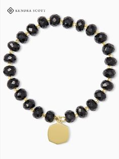 Statement stones and a metallic pendant accent make up the Davis 18k Gold Vermeil Beaded Bracelet in Black Spinel, a seriously pretty piece to incorporate into every look.
