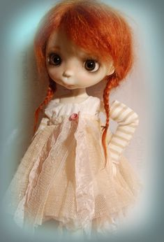 Ppinky van Blythe, Ppinkydolls, Azone Outfit set/4 stukken: jurk, broek, sokken en mouwen /