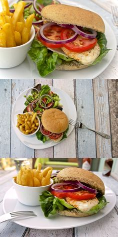 Mexican burger. Chicken burger with guacamole, tomatoes, onion and lettuce.