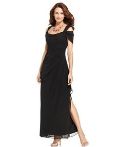 Alex Evenings Cold-Shoulder Draped Gown  mmaybe a 16 in this dress 10/20/14