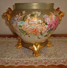 Phenomenal Lion Head Antique Limoges Hand Painted Porcelain Jardiniere with Ornate Base And Hand Painted Roses   c.1894