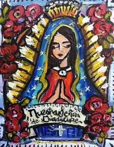 Our Lady of Guadalupe Original Painting by recycledwoodart on Etsy, $92.00