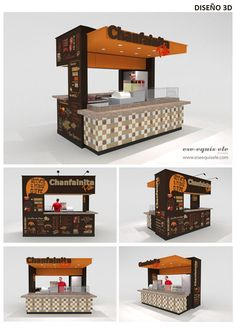 S-XL Arquitectos ::: Lima Perú ::: ese-equis-ele: DISEÑO DE MÓDULO CHANFAINITA PALE / CHANFAINITA PALE STAND DESIGN Small Coffee Shop, Coffee Shop Design, Kiosk Design, Cafe Design, Design Design, Web Banner Design, Cafe Interior, Shop Interior Design, Stand Design