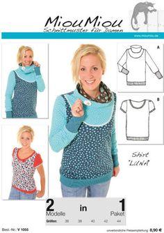 Oberteile & Jacken - LUNA Schnittmuster Shirt Miou Miou - ein Designerstück von KreaTinis bei DaWanda