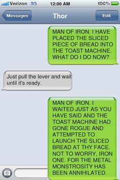 conversation between thor and tony via phone (funny,humor,ohh thor,ehehehe,tony,stark,the avengers)