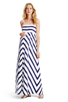696b5724e91ed Motherhood Jessica Simpson Spaghetti Strap Empire Waist - chevron print-  white & navy Maternity