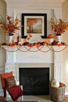 10 Beautiful Fall Mantels & Displays