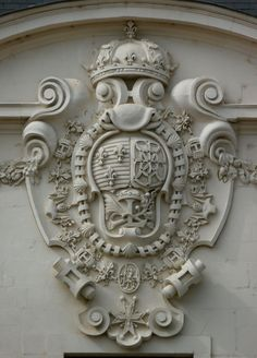Château des ducs de Bretagne. Cartouche displaying elements of the royal arms of France & Navarre as used between 1589 and 1792.