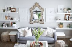 Oh my dear blog home tour #ikeahack #diy interior design. Neutral living room with open shelving and white and gold touches.