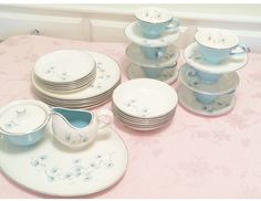 Turquoise Taylor Smith Taylor Turquoise 33 Piece Versatile Oven Proof Complete set Dinner and Lunch Plates Cups and saucers 50s Kitchen Retr by AspenRidge on Etsy https://www.etsy.com/listing/530126739/turquoise-taylor-smith-taylor-turquoise