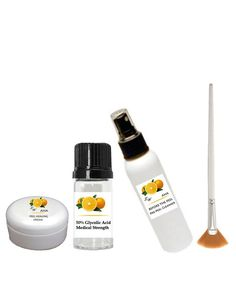 50% Glycolic Acid (Professional Medical Grade) Chemical Peel Kit incl Glycolic Acid Cleanser   Glycolic Acid Peel Cream and FAN BRUSH - Age Spots,Lines,Wrinkles,Acne - LeWilnet ** You can find more details by visiting the image link. (Note:Amazon affiliate link)
