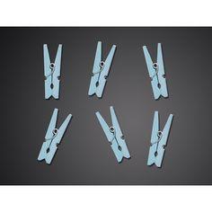 Holzklammern in Blau 20 Stück Magnetic Knife Strip, Triangle, Mini, Blue Party, Colors, Dekoration