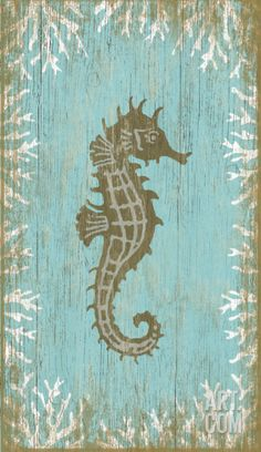 Seahorse Right Wood Sign Wood Sign at Art.com