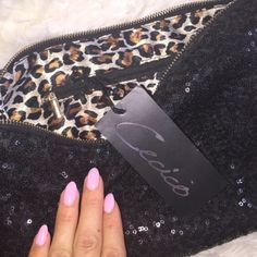 Black glitterSequin Clutch purse leopard Clutch BRAND NEW WITH TAGS Bags Clutches & Wristlets