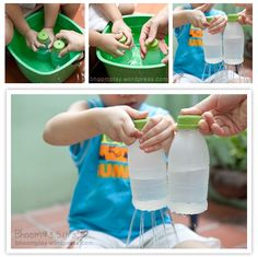 Water naar overkant met gaatjes in een beker/fles