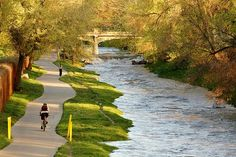 Cherry Creek bike path and walking trail. Runs from downtown Denver, past the Cherry Creek Mall, and then continues south to the southeast end of the city. Spectacular and greatly loved.