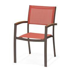 Chaise de jardin rouge avec accoudoirs empilable Marron, rouge, bois - Tarragona - Chaises de jardin - Salon de jardin - Jardin - Décoration d'intérieur - Alinéa