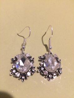 Dangling Rhinestone Earrings  //  Crystal Silver and Black  //  Large Crystal Rhinestone
