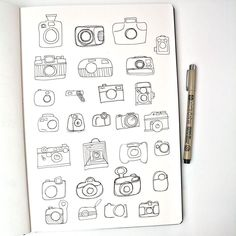 Day 9: Cameras #DellowDailyDrawing. Just pen for my sketches today and some very quick sketches of different camera shapes. Feel I might need to do more of these! #sketching #drawing #ink #cameras #pen #sketchbook