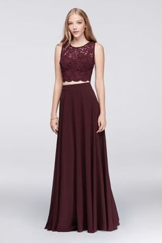 One of the hottest fashion trends, the crop top is a must-have for prom season. This two-piece dress features a glittery, scalloped lace crop top and a full, flowing skirt. This style is exclusive to