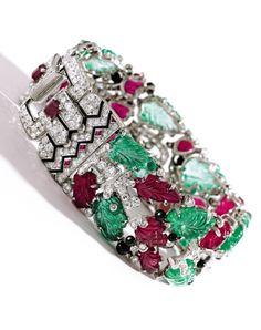 Platinum, Colored Stone, Diamond and Enamel 'Tutti Frutti' Bracelet, Cartier, New York, circa 1928 (est. $750,000 - 1,000,000)