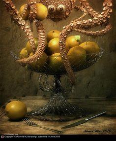 Monster near a basket of lemons by Ahmed AL Barazengi Bizarre Photos, 3d Artwork, Cg Art, Kraken, Tentacle, Cthulhu, Art Portfolio, Under The Sea, Mind Blown