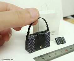LV Ooak Designer Handbags Bag Purse with Wallet 1/12 Dollhouse Miniatures handmade (L5)