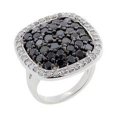 #Malakan #Jewelry - Silver Black Velvet Diamond Ladies Ring  65252B3 #BlackVelvetDiamond #BlackVelvetDiamonds